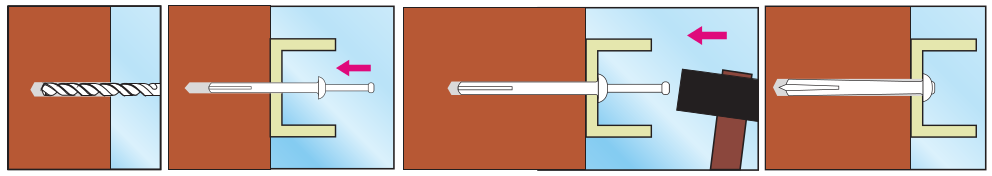 Металлический дюбель-гвоздь способ монтажа